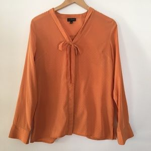 The Limited Burnt Orange Tie Button Down Blouse